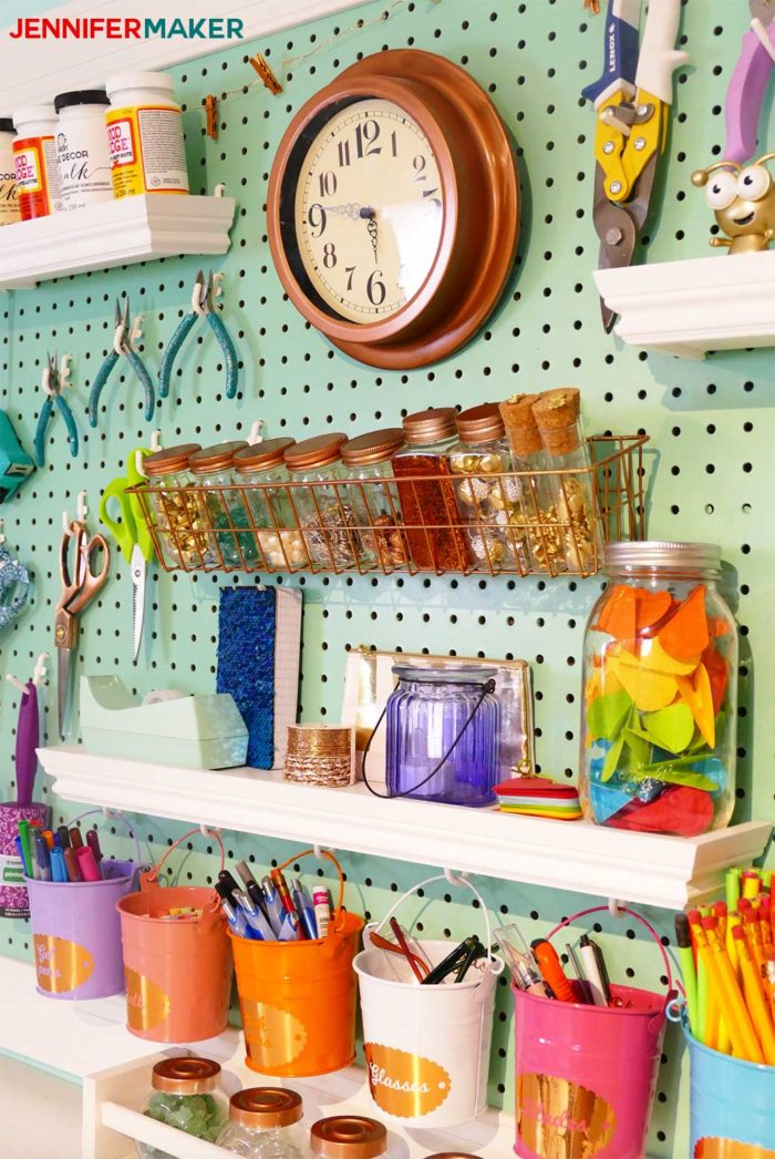 Craft Room Pegboard Accessory Ideas | #craftroom #diy #organization
