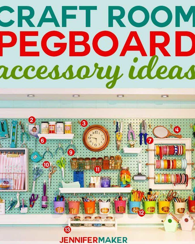 Craft Room Pegboard Accessory Ideas | #craftroom #diy #organization