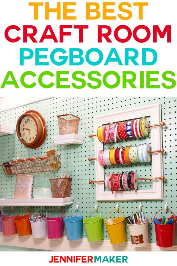 See all the fun craft room pegboard accessory ideas you can find, make or repurpose to store your tools and supplies! I have included a lot of free tutorials and ideas to help you with your craft room organization needs. #diy #tutorial #craftprojects #craftroom