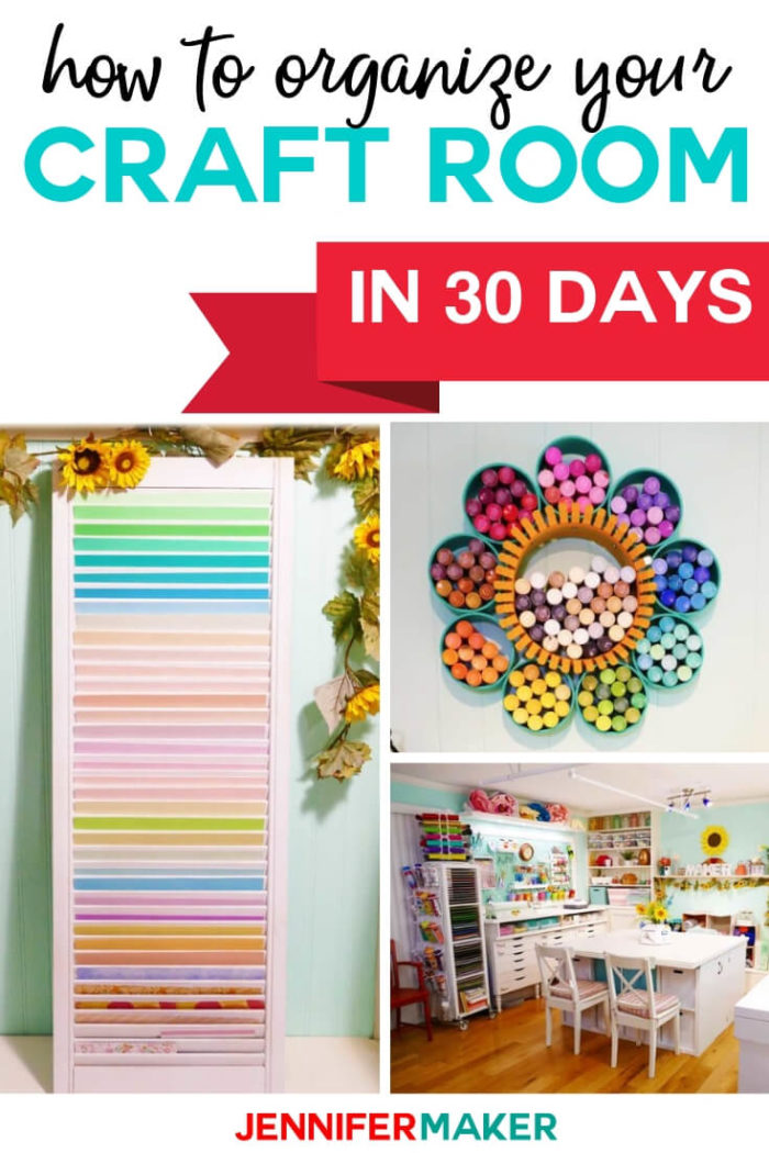 Learn how to organize your craft room in just 30 days with this FREE email challenge. Each day you'll receive a new assignment to help you organize your craft room so you can get back to doing what you love!  #craftprojects #craftroom #organization
