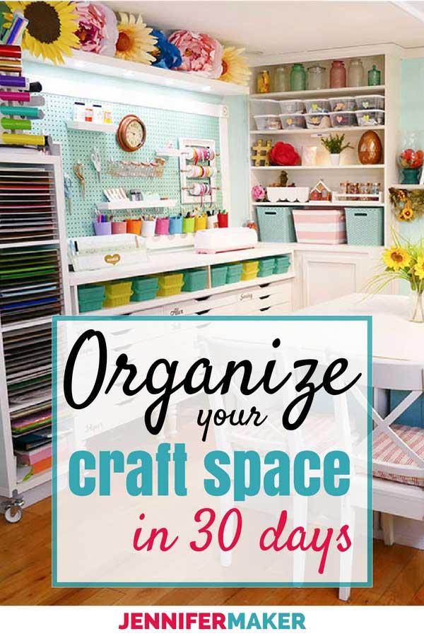 Craft Room Organization Tips, Tricks and Tutorials - A 30 Day Method | #craftroom #organization #crafting