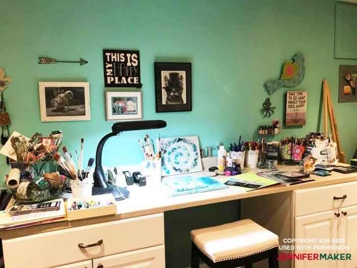Craft room paint color Tiffany Blue