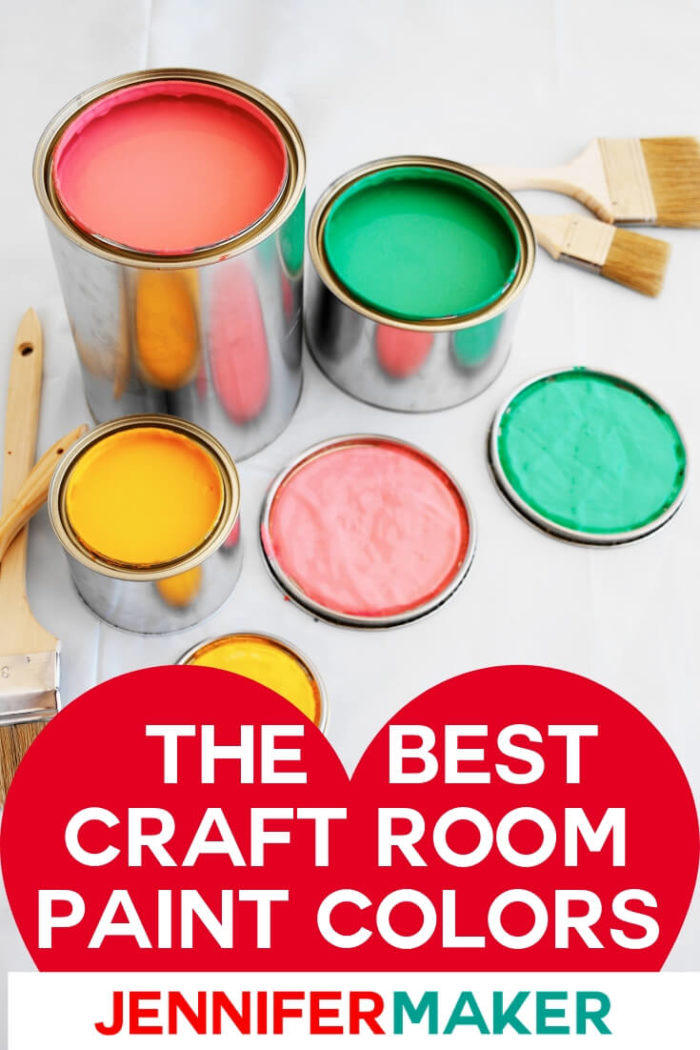 Are you ready to repaint your craft room? I am sharing craft room paint colors that will help you brighten your room and recreate one of these amazing spaces. I have included the exact brand paint color for your craft room.  #diy #craftroom #craftroompaintcolors