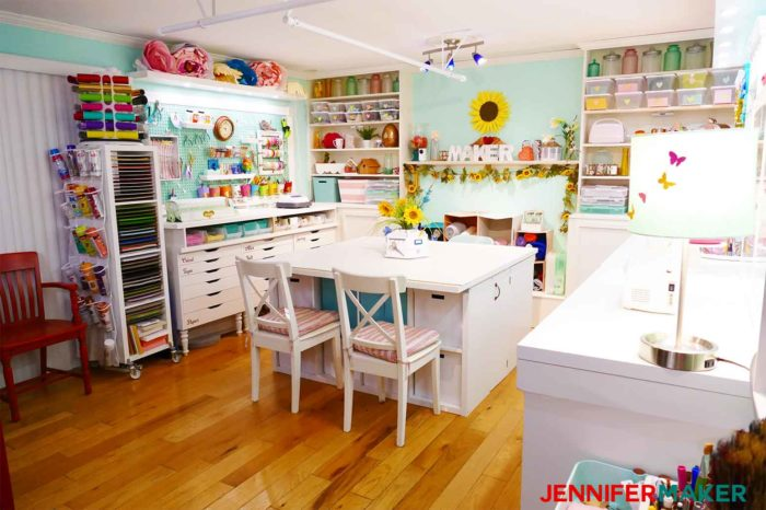 The entrance to a pretty, well-lit, and ORGANIZED craft room designed by JenniferMaker