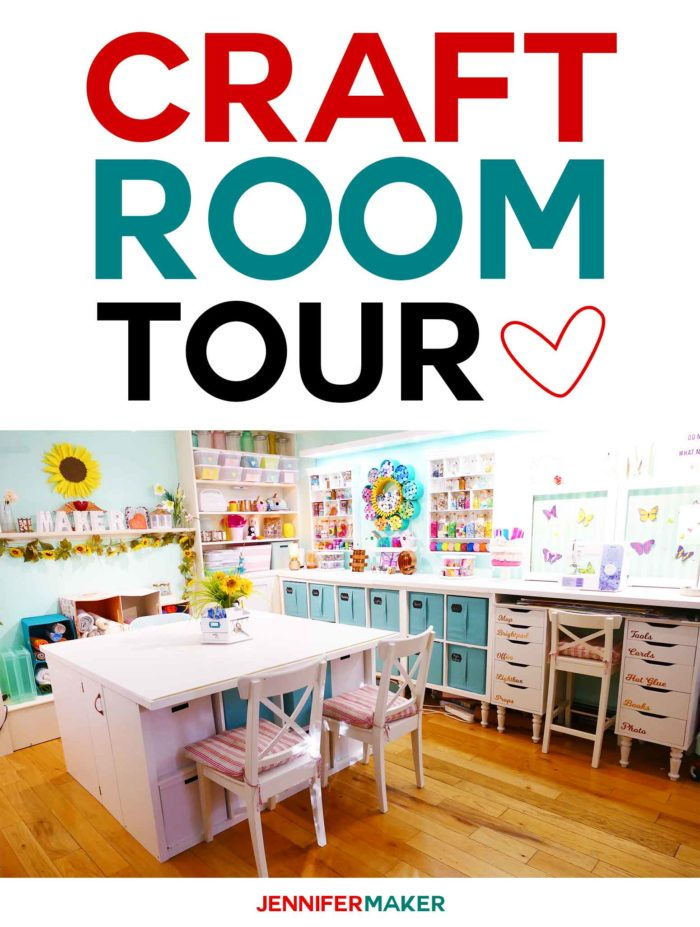 Tour my craft room for great organization and storage ideas! #craftroom #organization #storage #inspiration #crafty | craft room tour