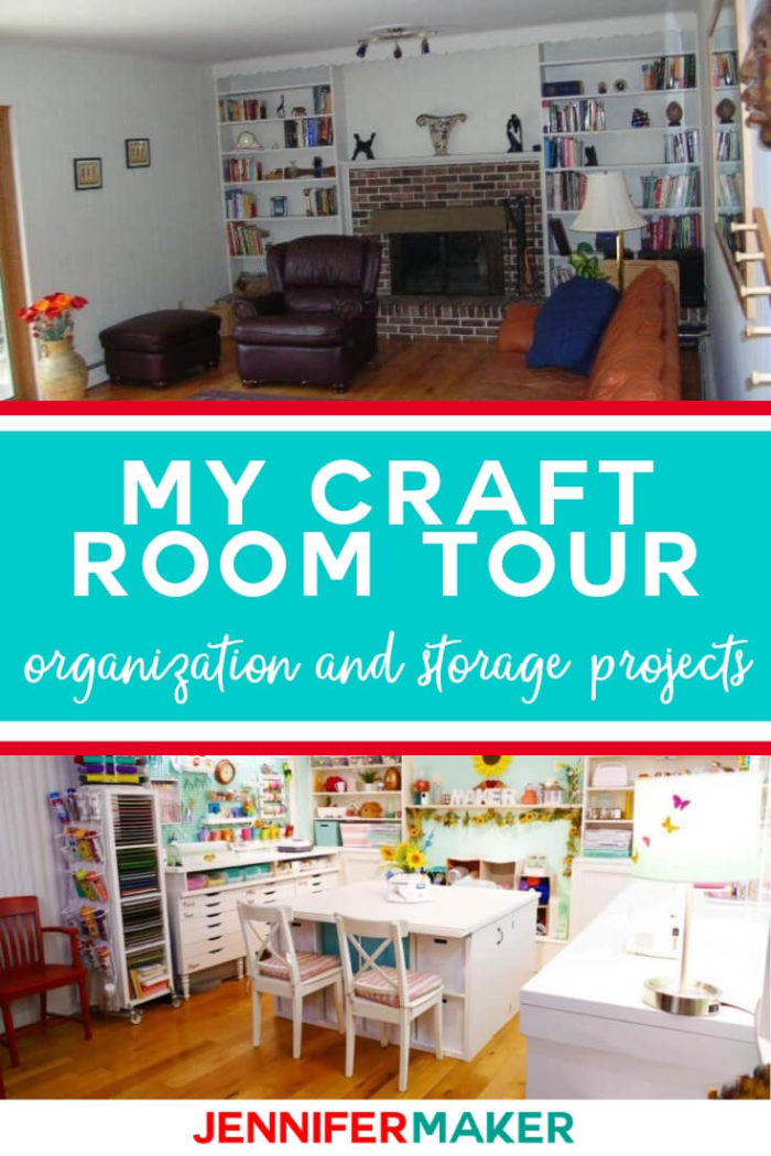 Enjoy my craft room tour and see how I transformed our family room into an amazing organized craft space!  #diy #tutorial #craftroom