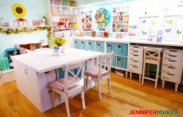 A pretty, well-lit, and ORGANIZED craft room designed by JenniferMaker