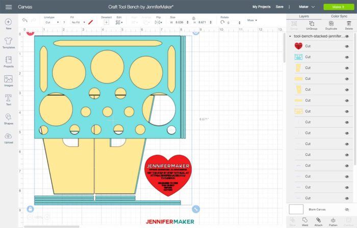 The Craft Tool Bench SVG uploaded to Cricut Design Space