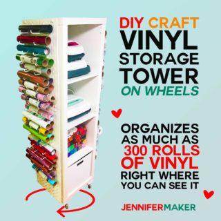 Craft Vinyl Storage Organizer Tower | DIY IKEA Hack | #craftroom #vinylstorage #organization