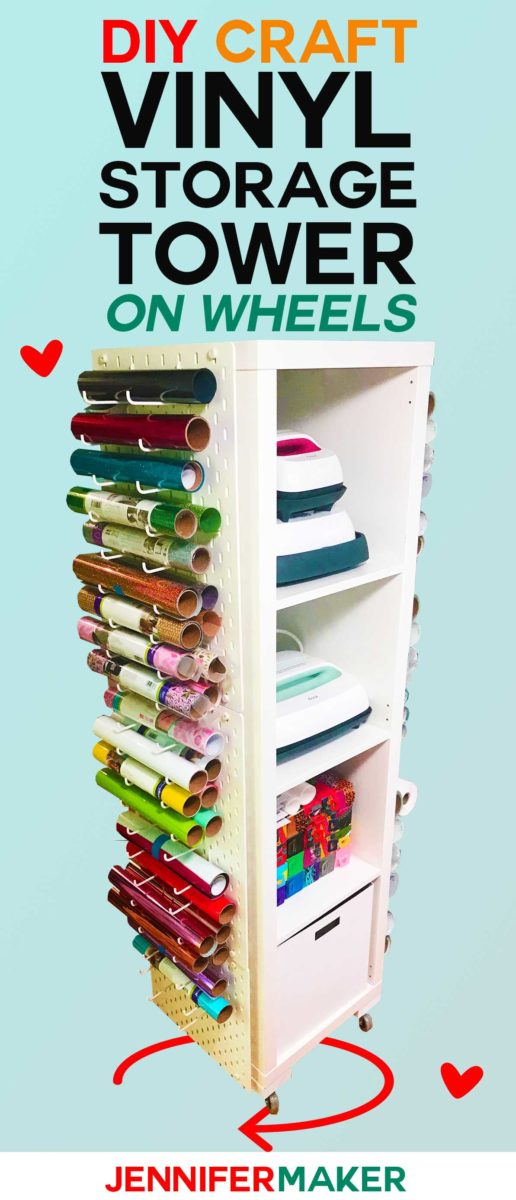 Craft Vinyl Storage Organizer Tower | DIY IKEA Hack | #craftroom #vinylstorage #organization