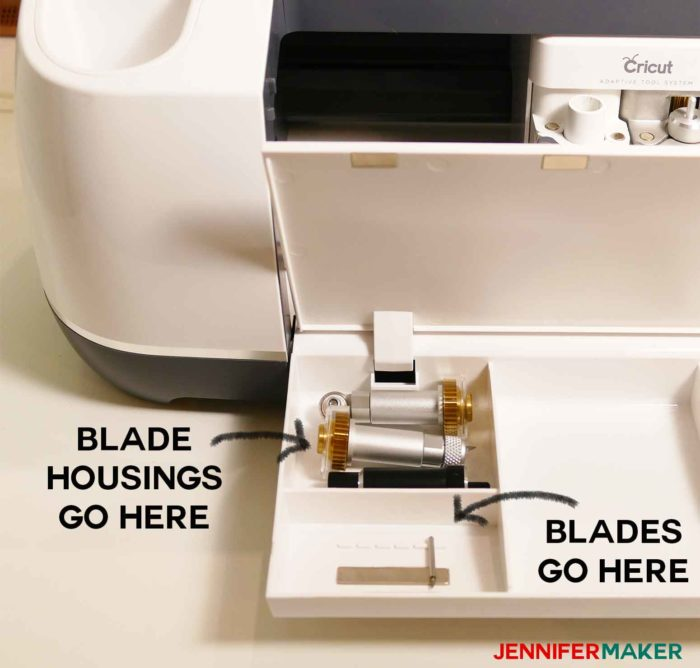 Store your Cricut blades in the lift-up compartment of your Cricut