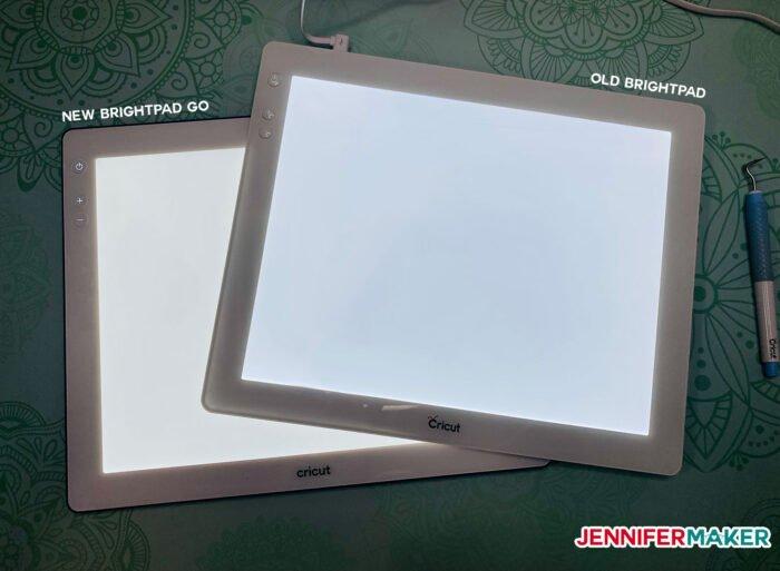 Brightness levels of Cricut Brightpad vs Brightpad Go