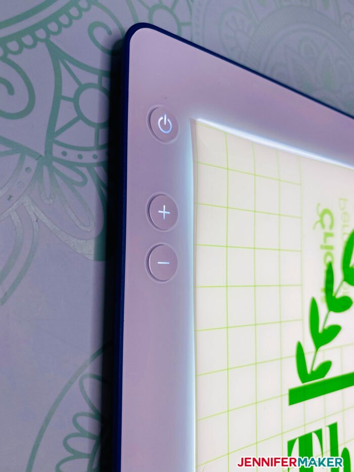 Cricut BrightPad Go power buttons -- press the + to increase brightness up to 4200 lumens