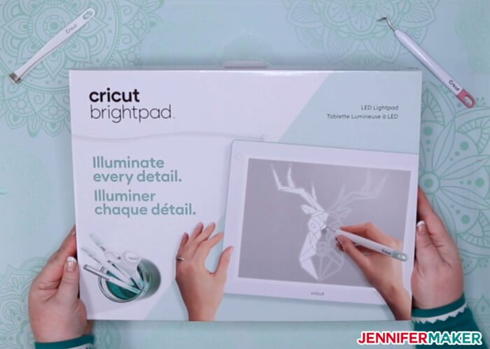 Cricut BrightPad in Mint with corded LED lightbox for vinyl weeding and tracing
