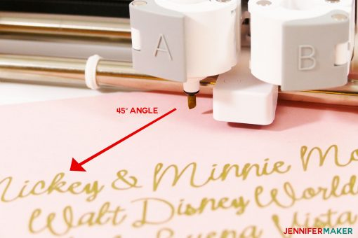 Putting the Cricut calligraphy pen in at a 45° angle for best Cricut writing results