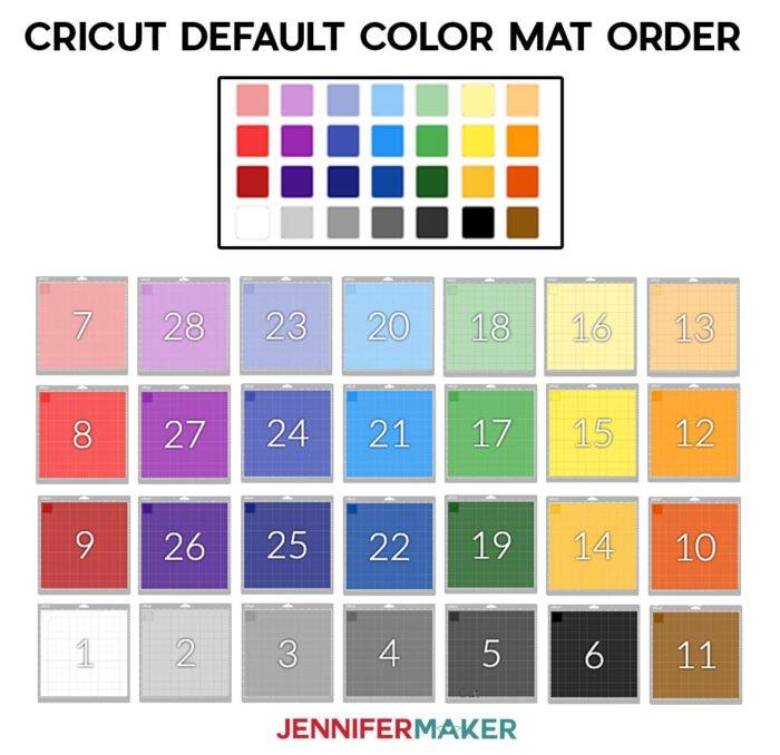 The mat order for the default Cricut color palette