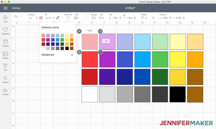 Cricut default colors in Cricut Design Space to help you determine Cricut mat cutting order
