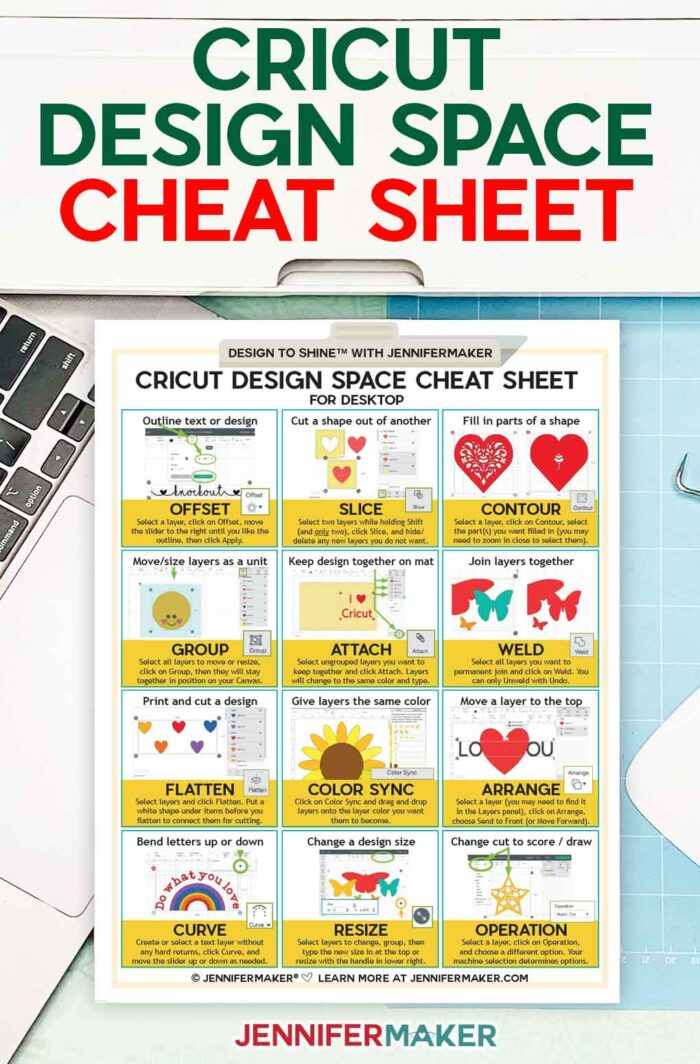 Get a FREE Cricut Design Space Cheat Sheet with 12 popular functions!