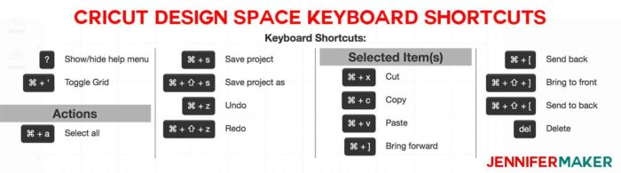 Keyboard shortcuts are a great trick for Cricut Design Space tips