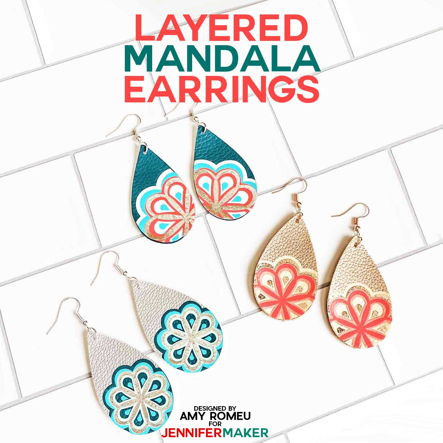 Cricut Earring Designs with Layered Mandala Iron-on Vinyl over Faux Leather Teardrops
