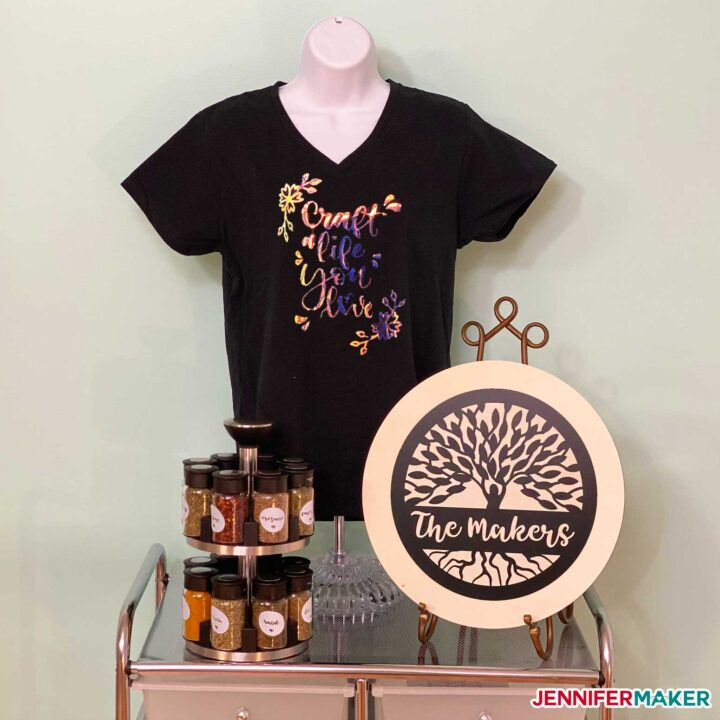 T-shirt, sign, and labels made from the bonus materials in a Cricut Explore 3 and Cricut Maker 3 cutting machine box