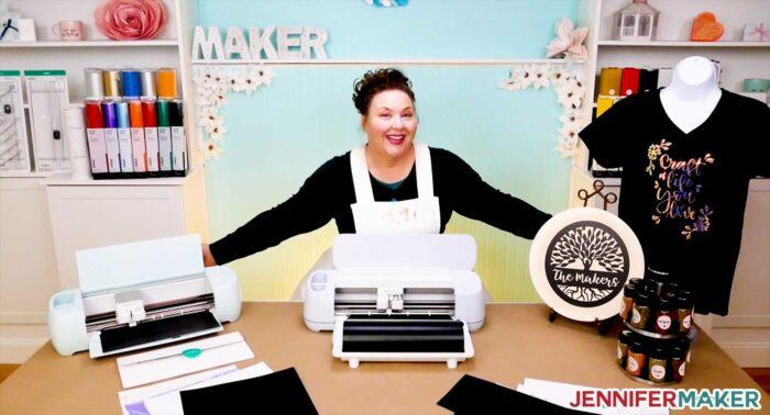 Jennifer with the new Cricut machines -- Cricut Explore 3 and Cricut Maker 3