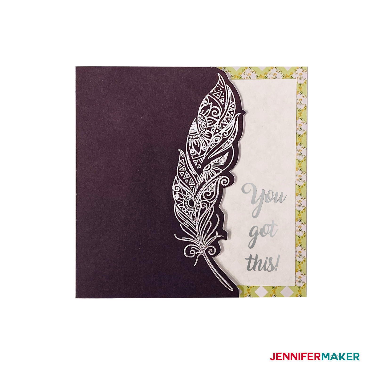 Black card with silver foil feather made with Cricut Foil Transfer