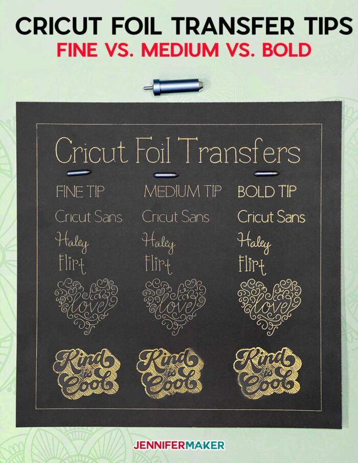 Cricut Foil Transfer Tips Compared - Fine vs Medium vs Bold #cricutfoiltransfer #foiling