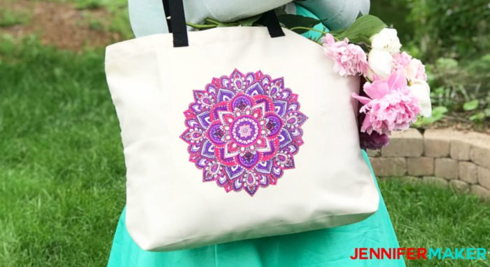 Mandala totebag in pinks and purples made with Cricut Infusible Ink pens
