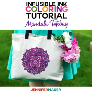 Cricut Infusible Ink Coloring Tutorial How to Make a Colored Mandala Totebag using Infusible Ink Pens #cricut #easypress #infusibleink