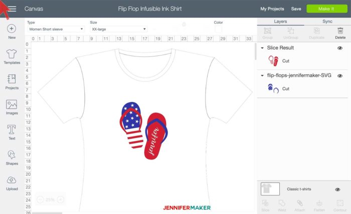Flip Flop Design for a Cricut Infusible Ink layered T-shirt