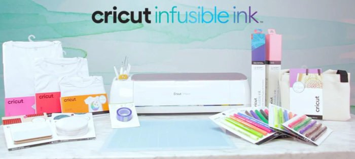 Cricut Infusible Ink products, materials, blanks, heat transfer tape, and a Cricut Maker