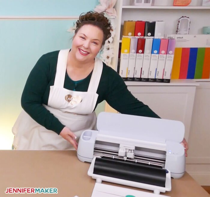 Jennifer Maker with the Cricut Maker 3 cutting machine, her personal recommendation for the best Cricut machine in 2021