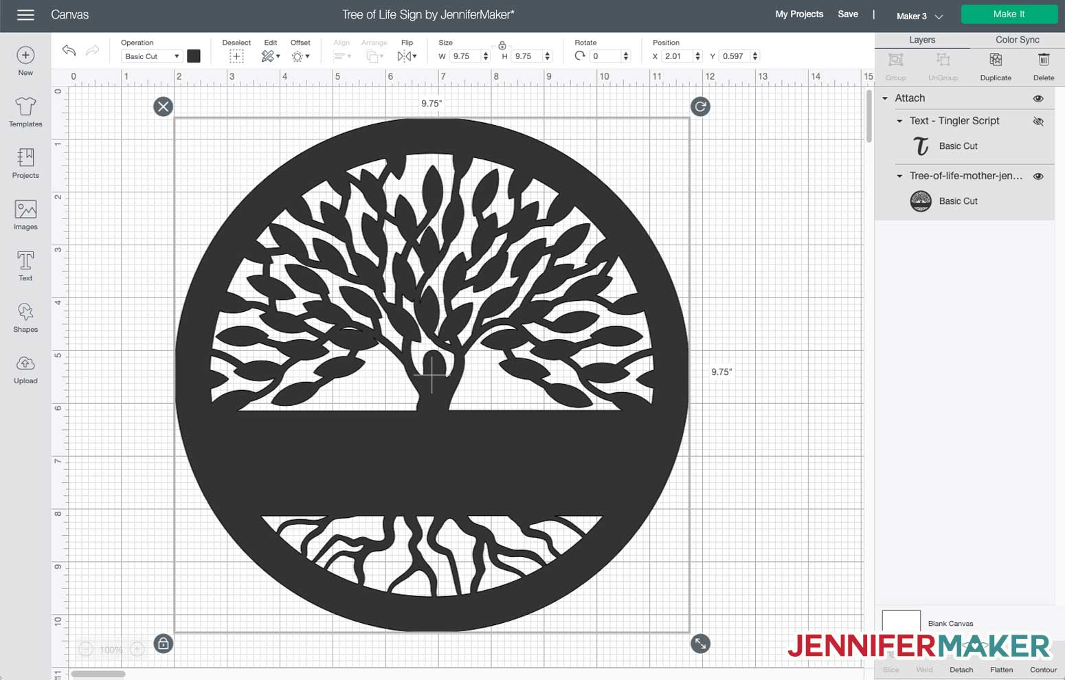 Tree of Life sign for the Cricut Maker 3 in Cricut Design Space