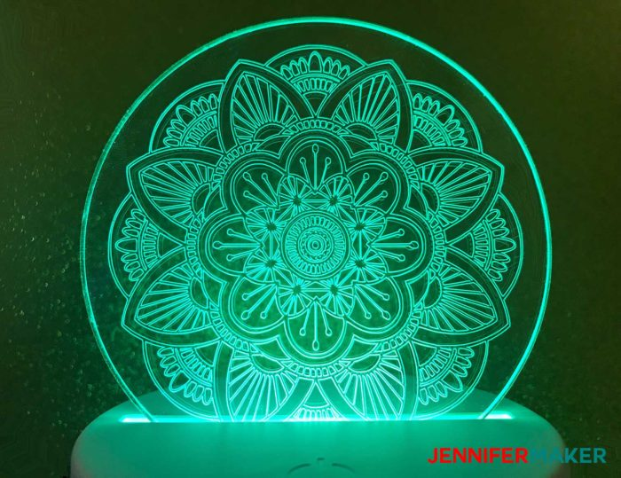 Acrylic disc engraved with a mandala using the Cricut Maker Engraving Tool