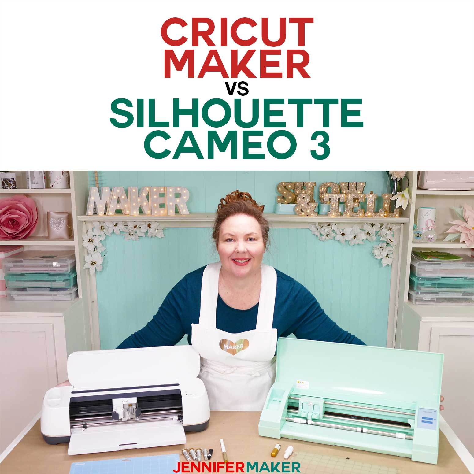 Compare the Cricut Maker vs Silhouette Cameo 3 in this head-to-head showdown between the two top-of-the-line cutting machines #cricutmaker #silhouettecameo