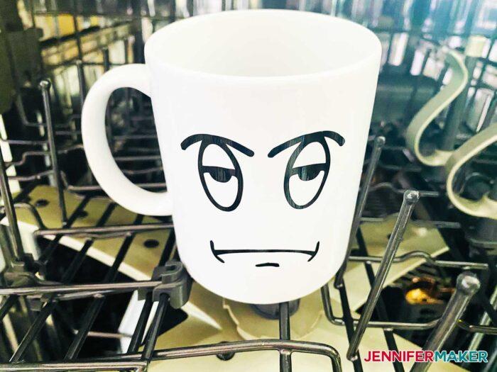 Cricut mug made dishwasher safe with Mod Podge Dishwasher Safe Formula