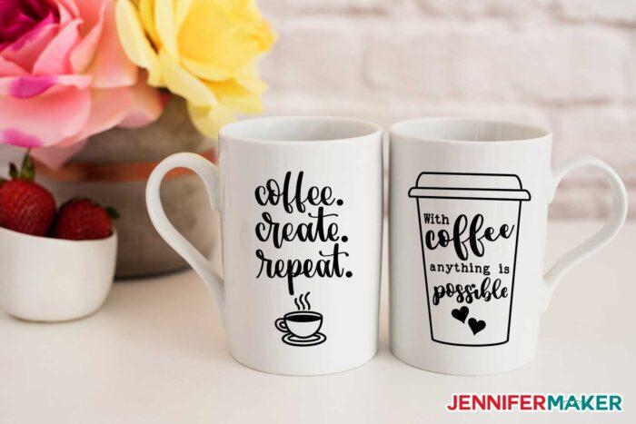 Coffee loving decals for ceramic mugs are one of my best Cricut mug ideas
