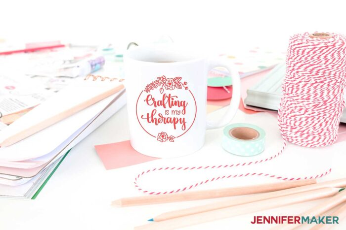 Crafting is my therapy Cricut mug idea with free SVG cut file