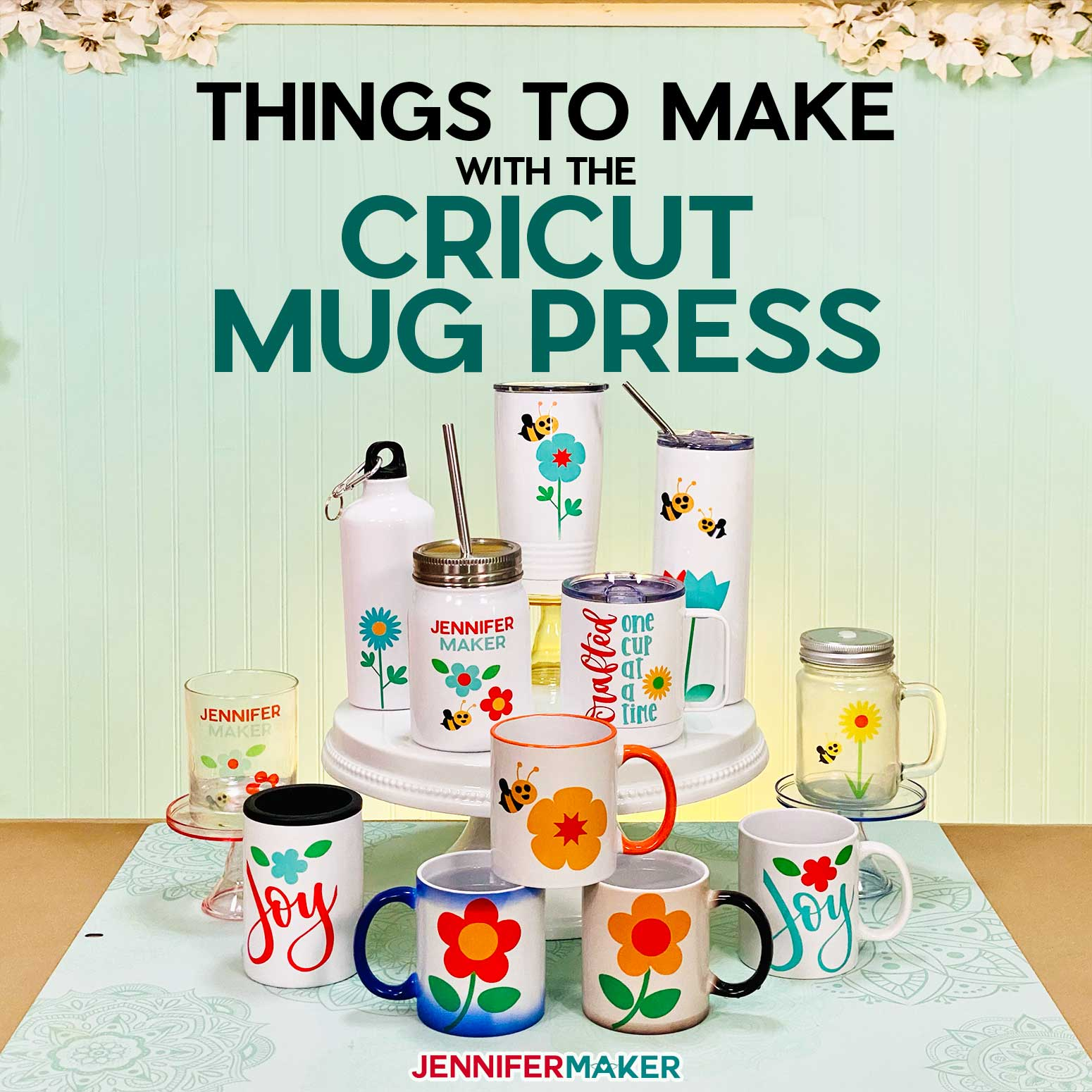 Sublimation Blanks to use with the Cricut Mug Press: Tumblers, Jars, Mugs, & More #cricutmugpress #infusibleink