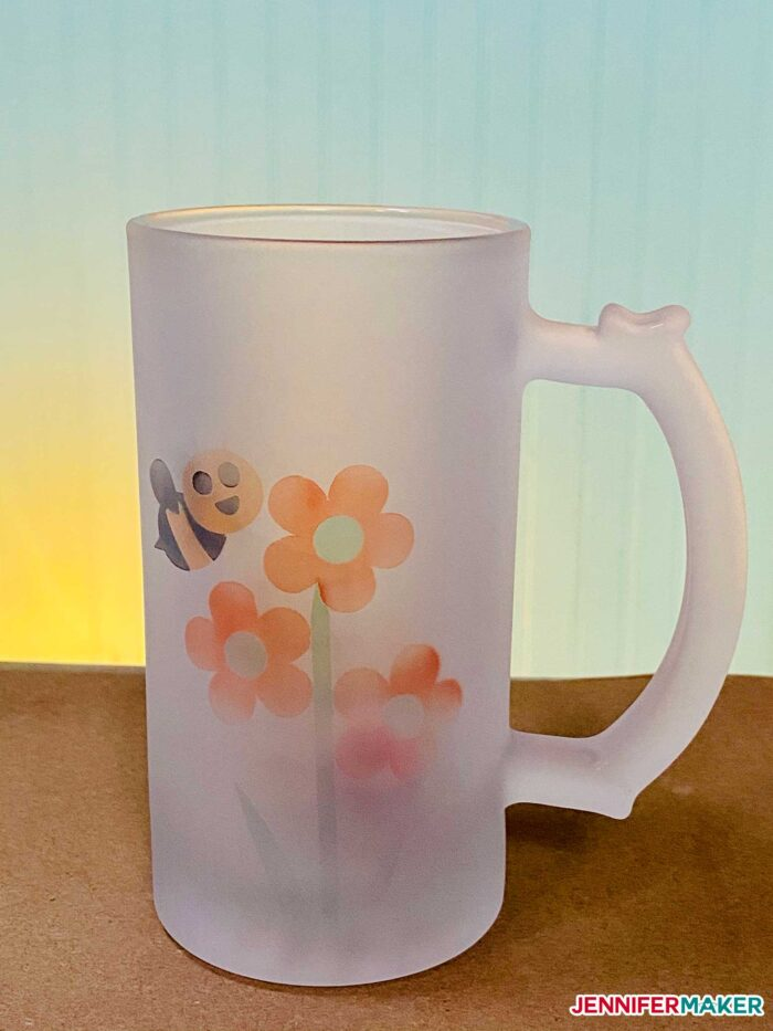 Frosted glass beer mug with sublimated Infusible iNk