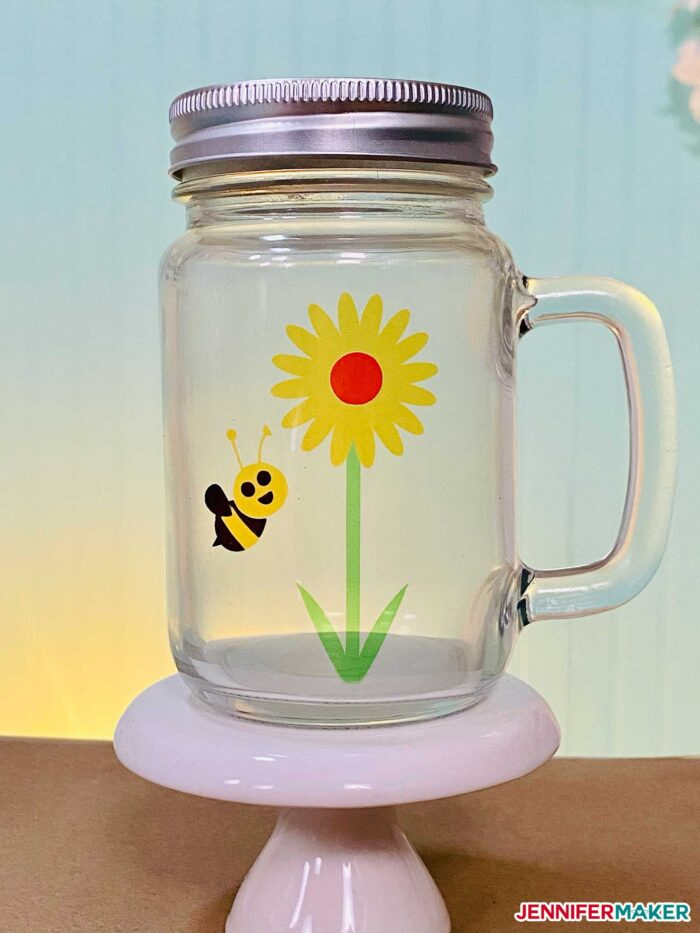 Glass Mason Jar with Infusible Ink sublimated on a Cricut Mug Press