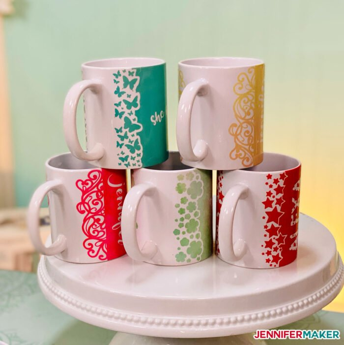 Cricut Mug Press mugs with infusible ink and fancy edges