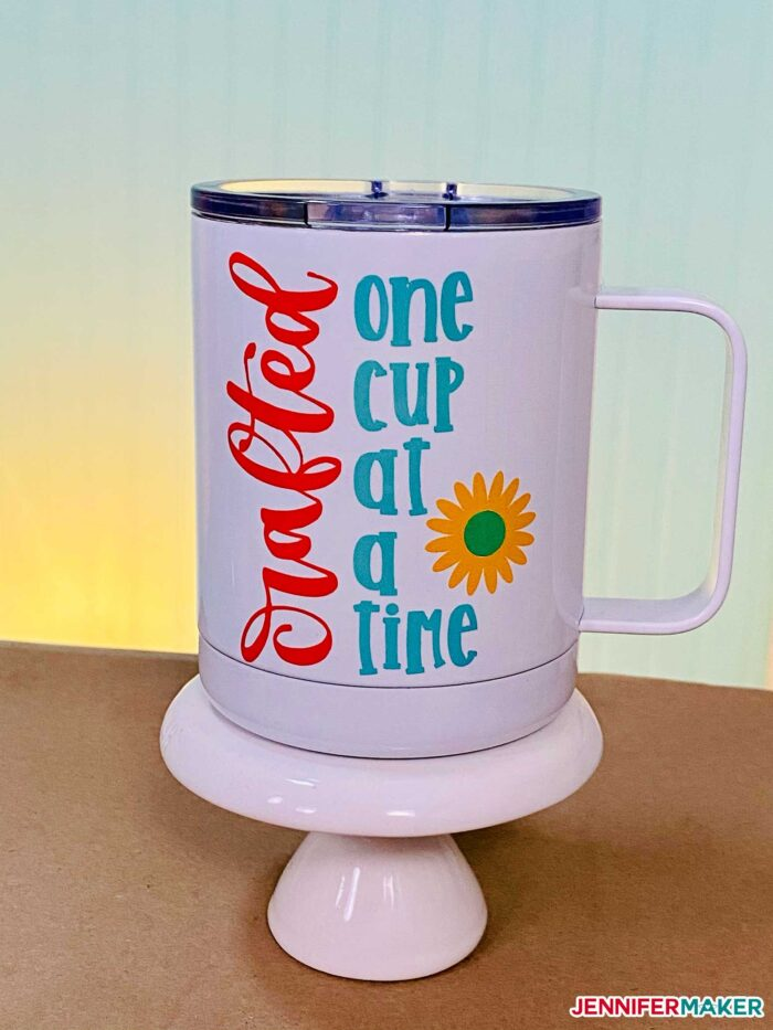 Metal sublimation camp mugs with Infusible Ink made on a Cricut Mug Press