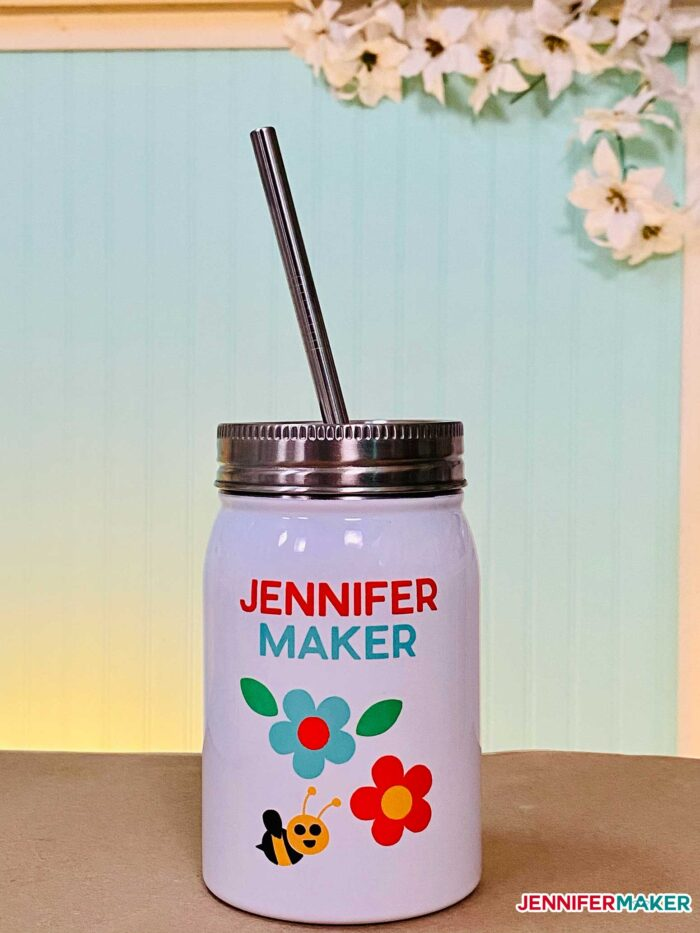 Sublimation metal Mason Jar with Infusible Ink made on the Cricut Mug Press
