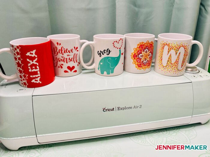 Just a few of the mug designs you can make with the Cricut Mug Press