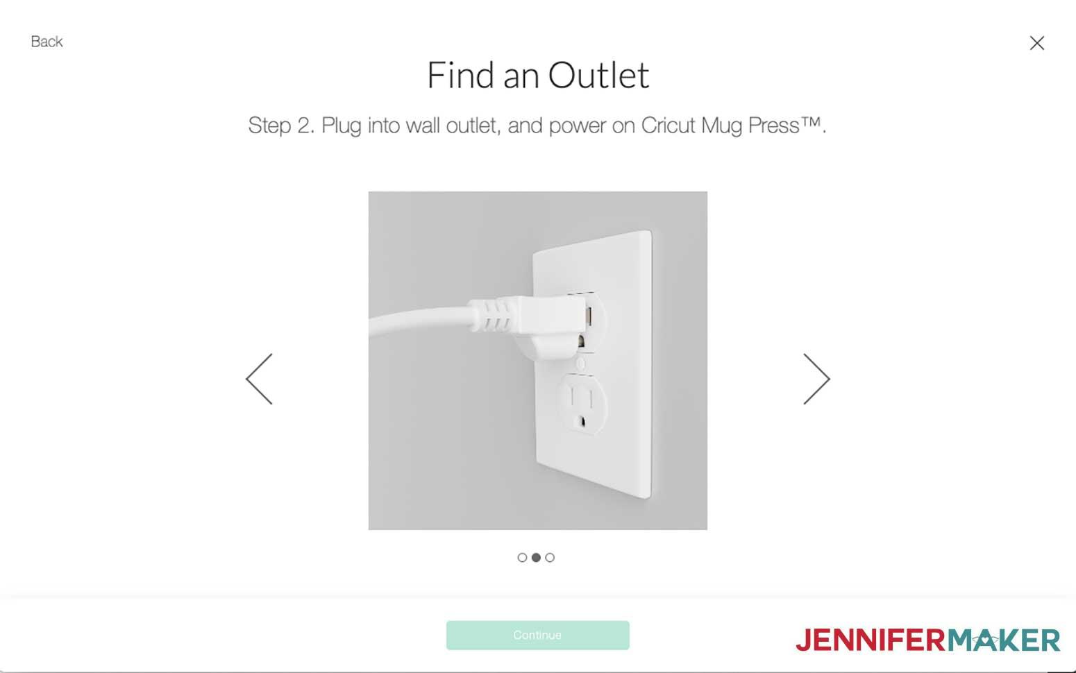 Cricut Mug Press plugged into a power outlet