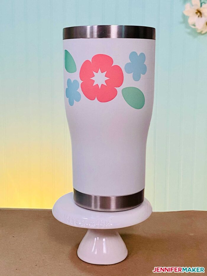 Powder coated tumbler with Infusible Ink