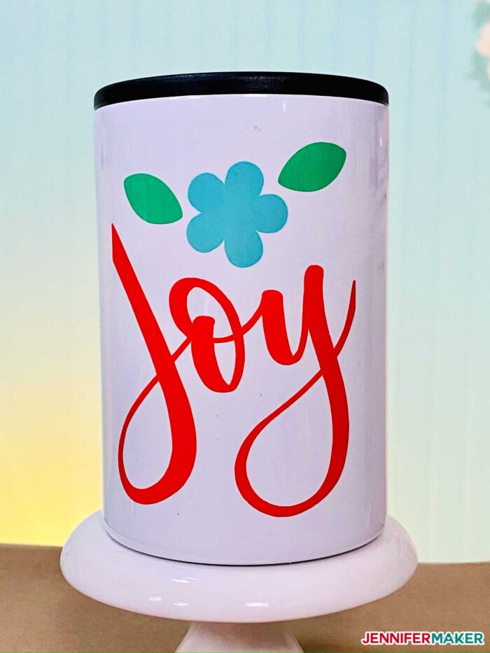 Can cooler made with Infusible Ink on the Cricut Mug Press