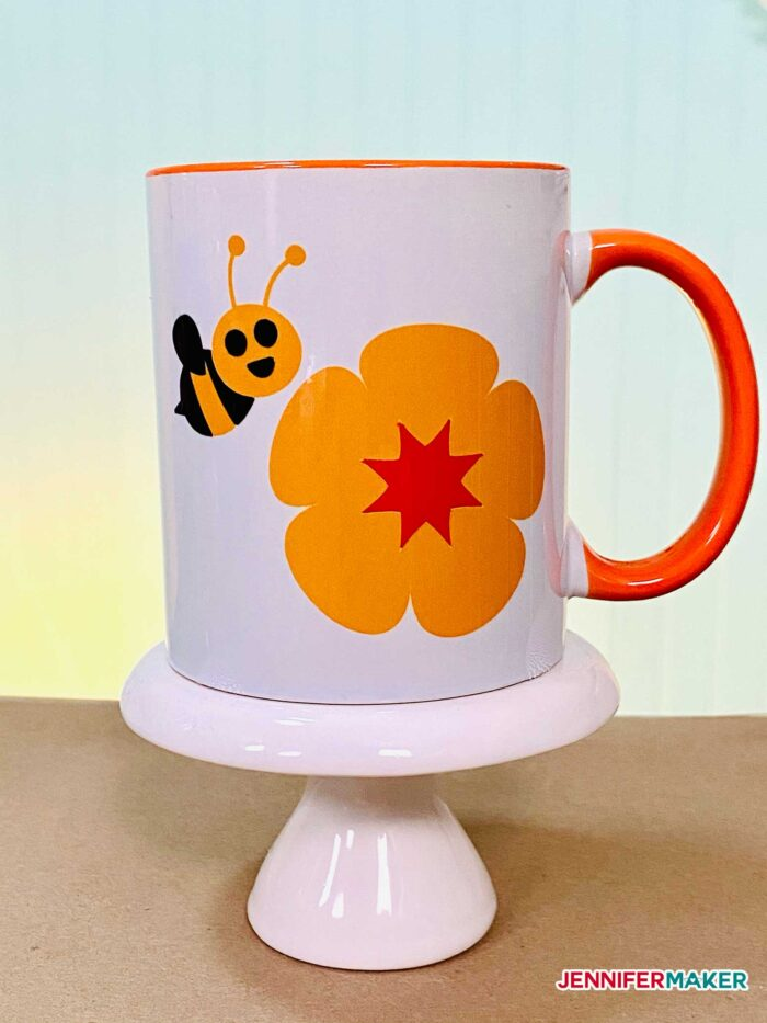 Color-handle and rimmed sublimation mug with Infusible Ink and the Cricut Mug Press